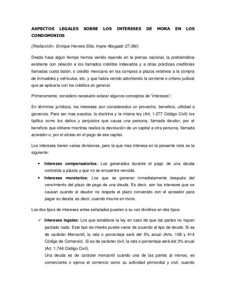 ASPECTOS        LEGALES      SOBRE       LOS     INTERESES        DE    MORA      EN     LOSCONDOMINIOS(Redacción: Enrique...