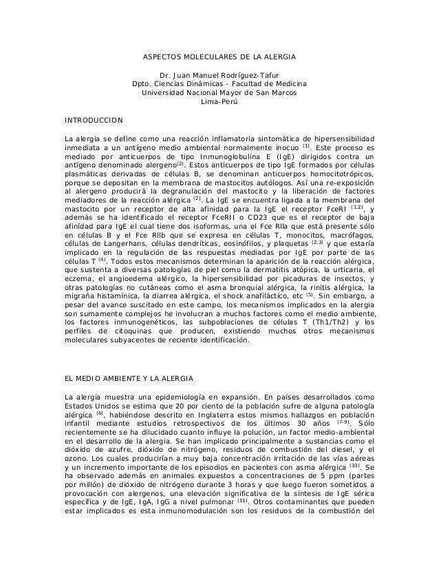 ASPECTOS MOLECULARES DE LA ALERGIA Dr. Juan Manuel Rodríguez-Tafur Dpto. Ciencias Dinámicas - Facultad de Medicina Univers...