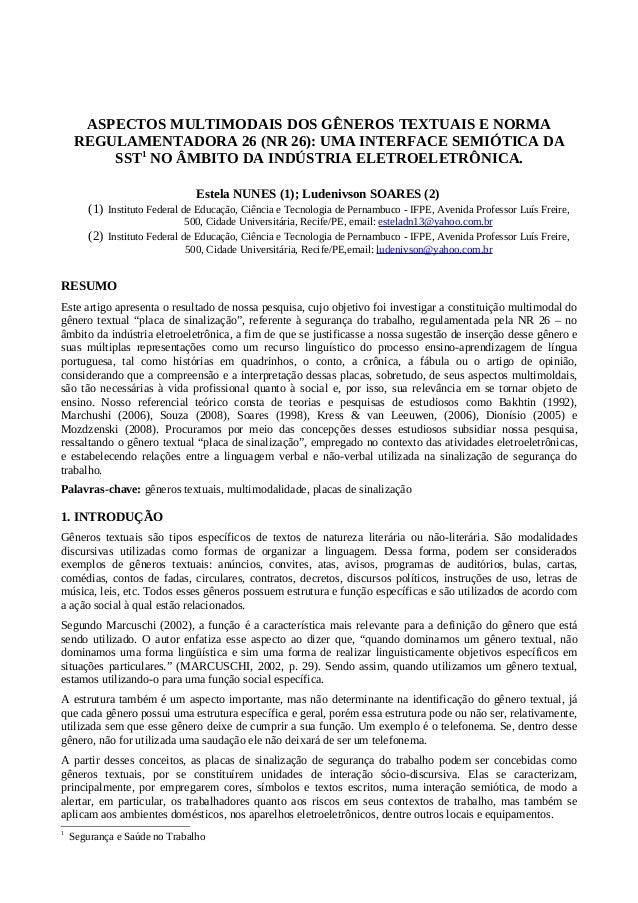 ASPECTOS MULTIMODAIS DOS GÊNEROS TEXTUAIS E NORMA REGULAMENTADORA 26 (NR 26): UMA INTERFACE SEMIÓTICA DA SST1 NO ÂMBITO DA...