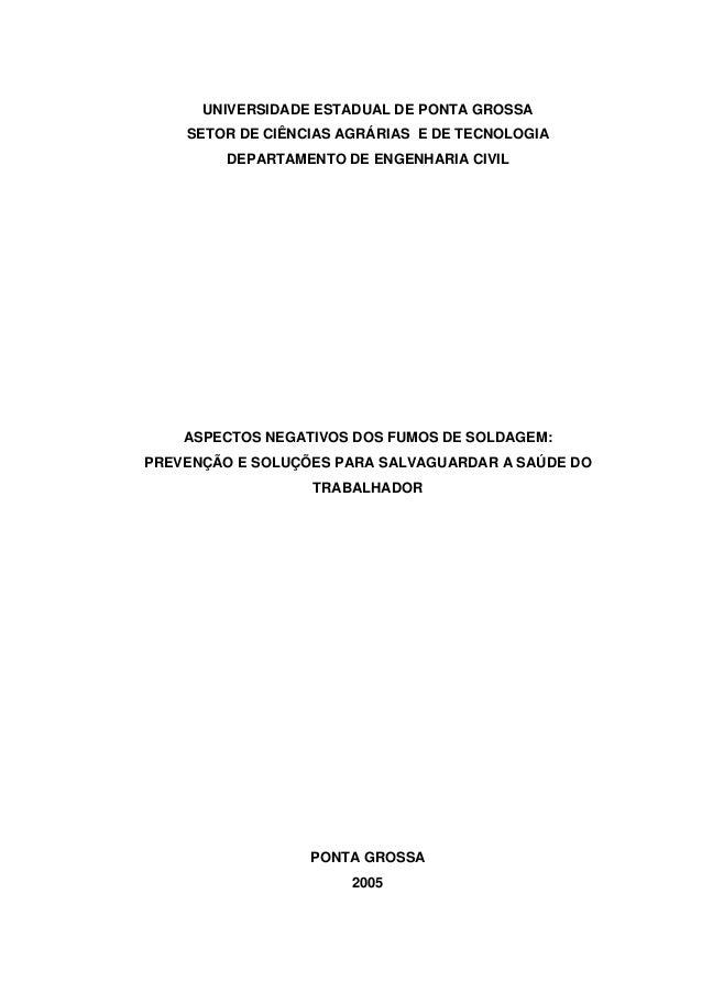 UNIVERSIDADE ESTADUAL DE PONTA GROSSA  SETOR DE CIÊNCIAS AGRÁRIAS E DE TECNOLOGIA  DEPARTAMENTO DE ENGENHARIA CIVIL  ASPEC...