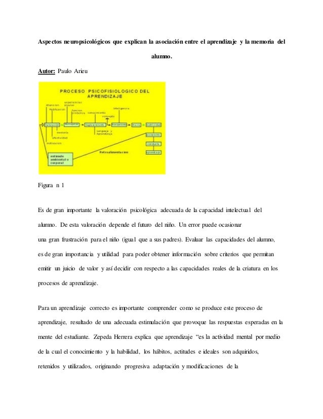 Aspectos neuropsicológicos que explican la asociación entre el aprendizaje y la memoria del alumno. Autor: Paulo Arieu Fig...