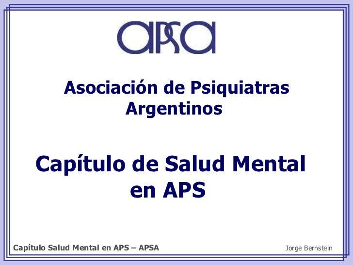Capítulo de Salud Mental en APS  Asociación de Psiquiatras Argentinos