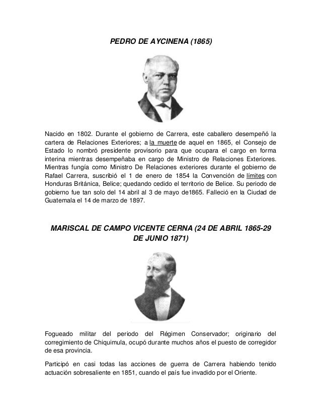 PEDRO DE AYCINENA (1865) Nacido en 1802. Durante el gobierno de Carrera, este caballero desempeñó la cartera de Relaciones...