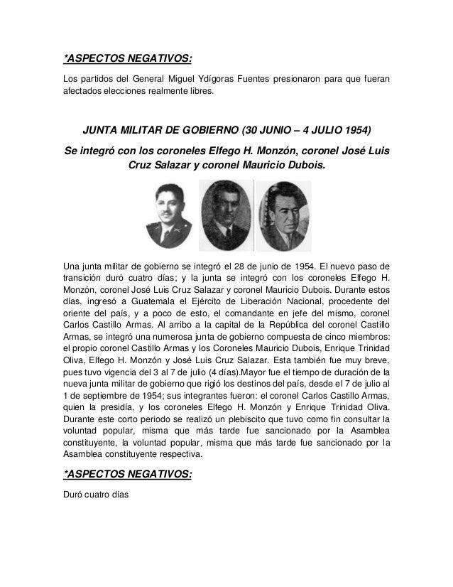 *ASPECTOS NEGATIVOS: Los partidos del General Miguel Ydígoras Fuentes presionaron para que fueran afectados elecciones rea...