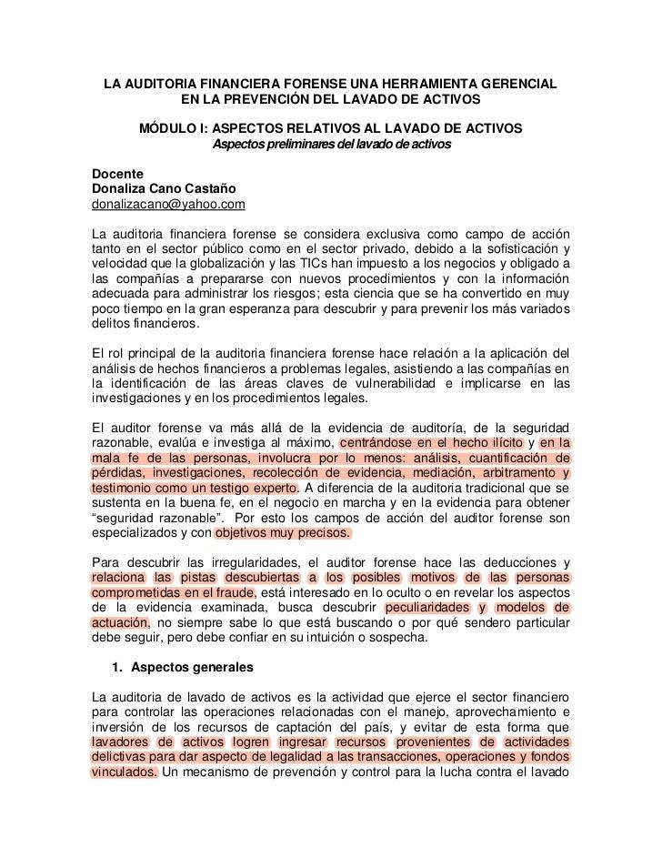 LA AUDITORIA FINANCIERA FORENSE UNA HERRAMIENTA GERENCIAL            EN LA PREVENCIÓN DEL LAVADO DE ACTIVOS        MÓDULO ...