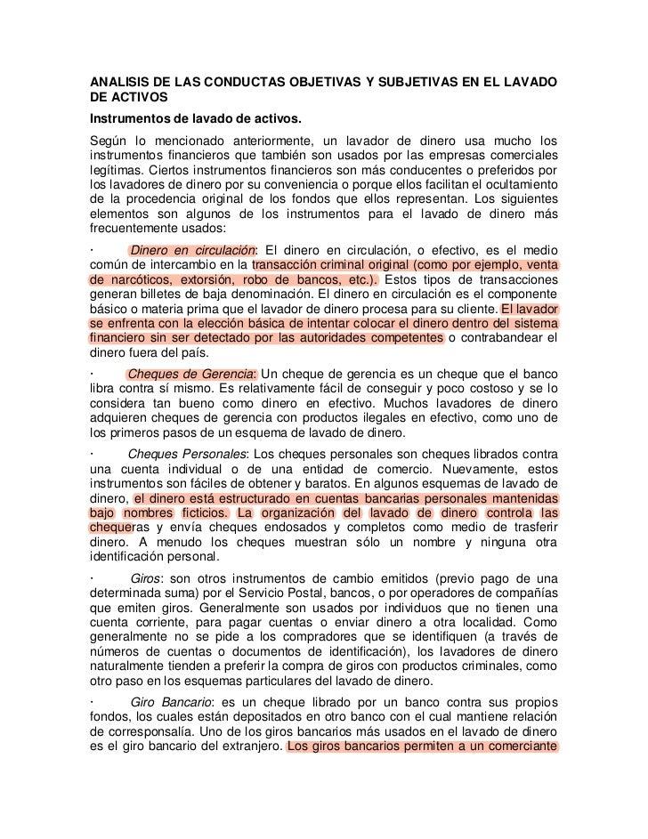 ANALISIS DE LAS CONDUCTAS OBJETIVAS Y SUBJETIVAS EN EL LAVADODE ACTIVOSInstrumentos de lavado de activos.Según lo menciona...