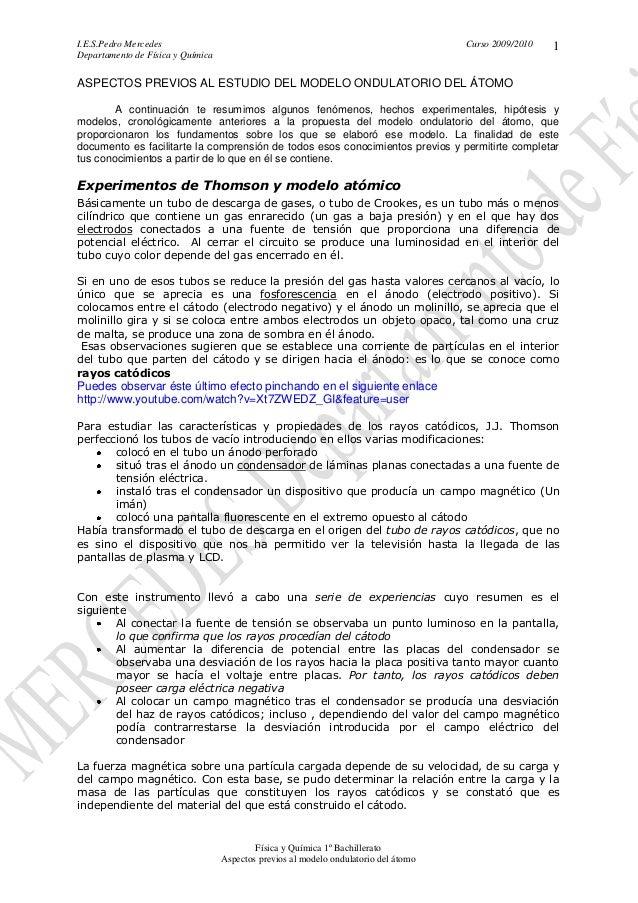 I.E.S.Pedro Mercedes Curso 2009/2010 Departamento de Física y Química Física y Química 1º Bachillerato Aspectos previos al...
