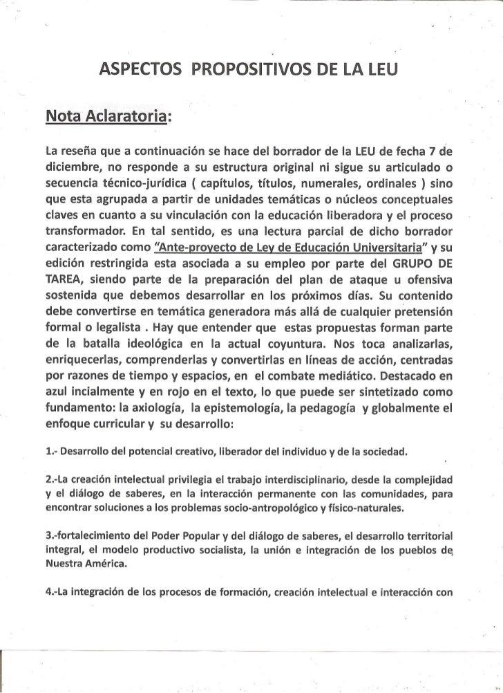Aspectos Propositivos De La L.E.U.