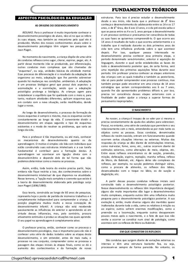 ASPECTOS PSICOLÓGICOS DA EDUCAÇÃO                                  estruturas. Para isso é preciso estudar o desenvolvimen...