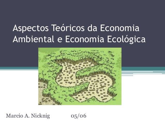 Aspectos Teóricos da Economia Ambiental e Economia Ecológica Marcio A. Nicknig 05/06