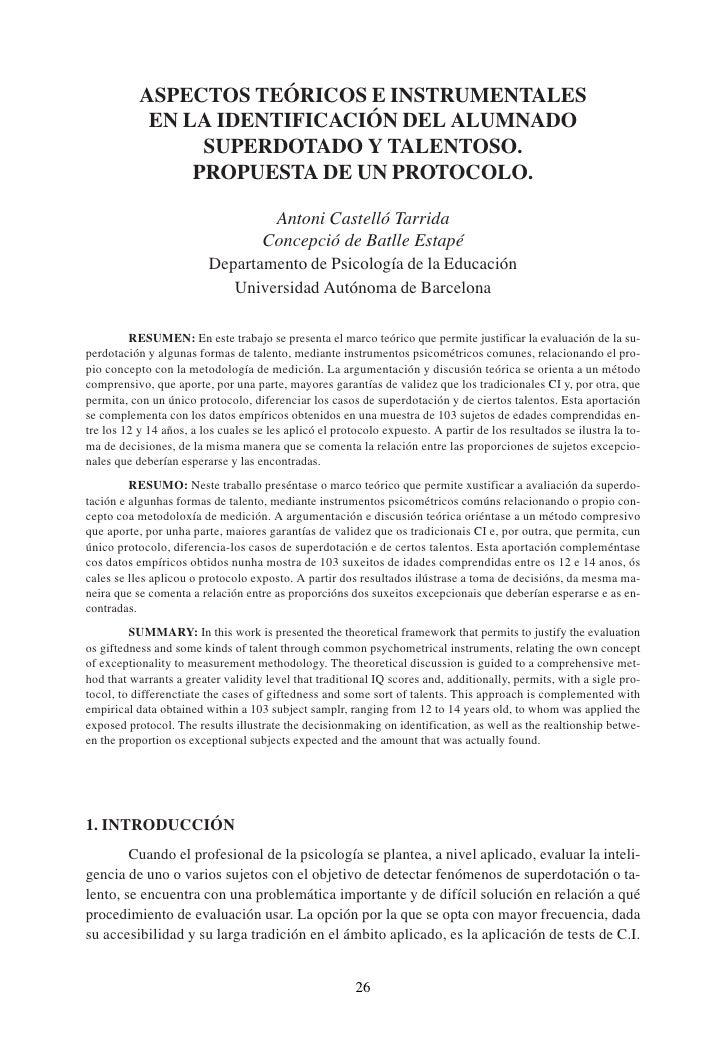 ASPECTOS TEÓRICOS E INSTRUMENTALES             EN LA IDENTIFICACIÓN DEL ALUMNADO                  SUPERDOTADO Y TALENTOSO....