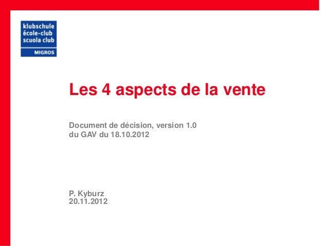 Les 4 aspects de la venteDocument de décision, version 1.0du GAV du 18.10.2012P. Kyburz20.11.2012