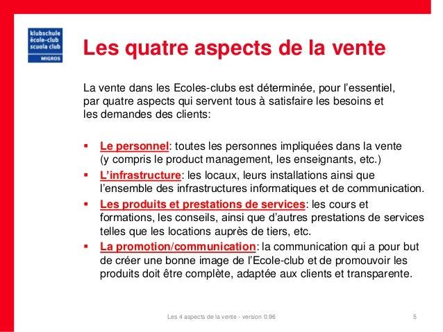 Les quatre aspects de la venteLa vente dans les Ecoles-clubs est déterminée, pour l'essentiel,par quatre aspects qui serve...
