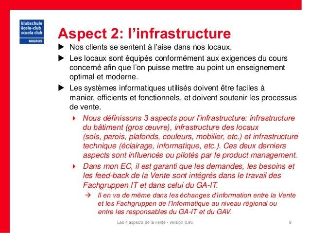 Aspect 2: l'infrastructure Nos clients se sentent à l'aise dans nos locaux. Les locaux sont équipés conformément aux exi...