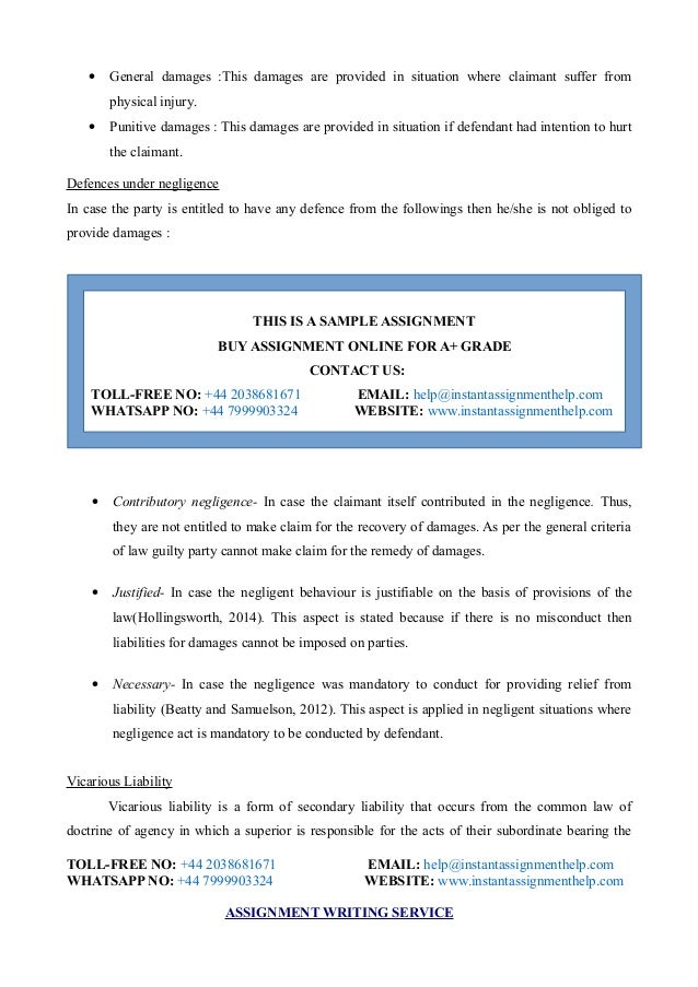 contracts and negligence assignment essay This is a solution of unit-3 contract and negligence assignment that describes about developing business in such a situation, the plaintiff is allowed to initiate a civil action for the injury or loss so suffered by the actions undertaken by the respondent.
