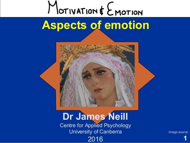 1 Motivation & Emotion Dr James Neill Centre for Applied Psychology University of Canberra 2016 Image source Aspects of em...