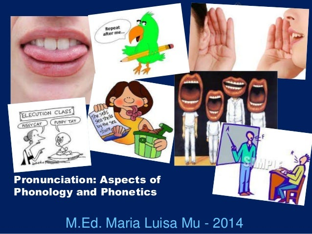 Pronunciation: Aspects of Phonology and Phonetics M.Ed. Maria Luisa Mu - 2014