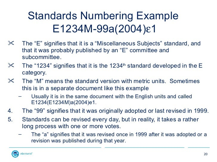 """Standards Numbering Example               E1234M-99a(2004)ε1        The """"E"""" signifies that it is a """"Miscellaneous Subject..."""