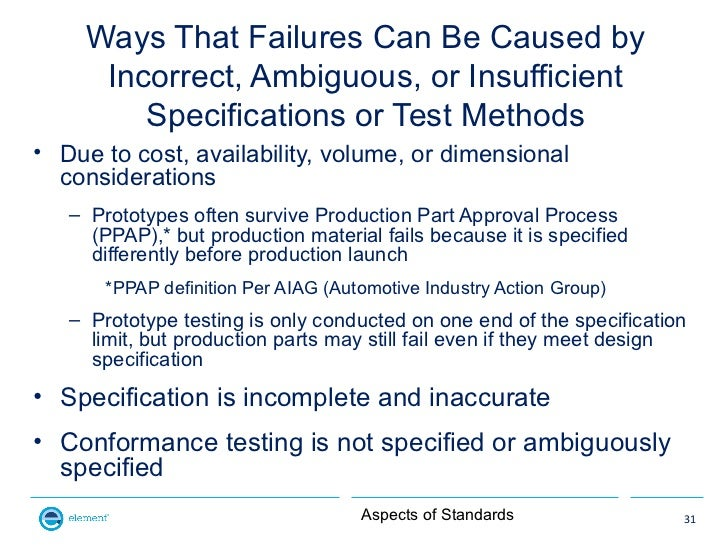 Ways That Failures Can Be Caused by      Incorrect, Ambiguous, or Insufficient         Specifications or Test Methods• Due...