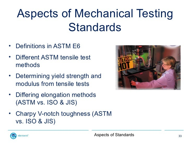 Aspects of Mechanical Testing           Standards• Definitions in ASTM E6• Different ASTM tensile test  methods• Determini...