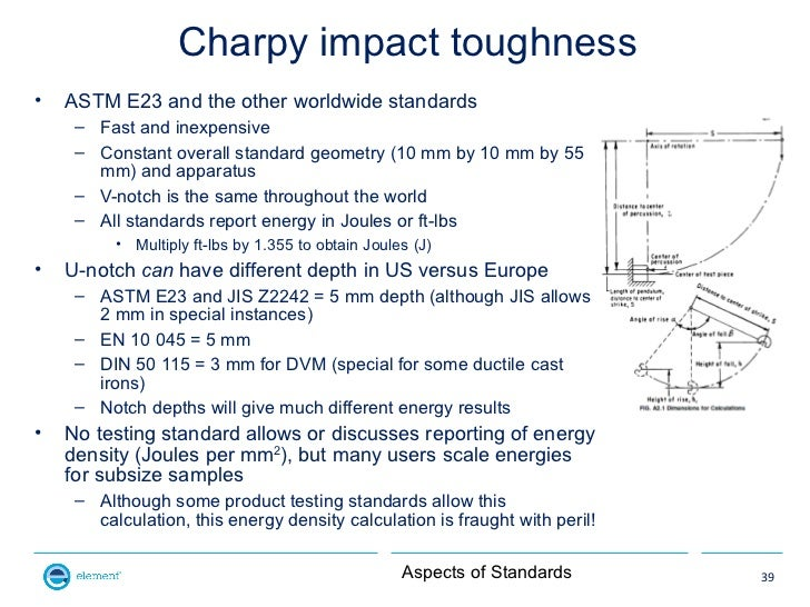 Charpy impact toughness•   ASTM E23 and the other worldwide standards     – Fast and inexpensive     – Constant overall st...