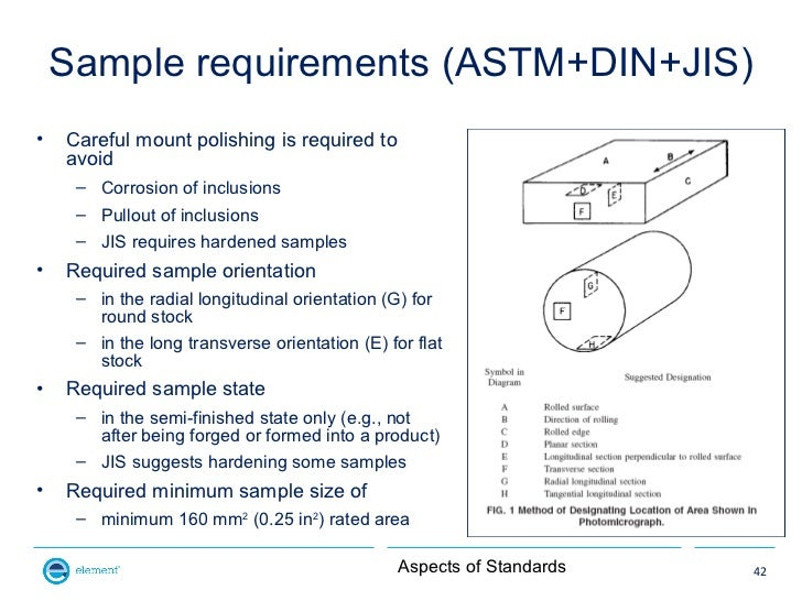Sample requirements (ASTM+DIN+JIS)•   Careful mount polishing is required to    avoid     – Corrosion of inclusions     – ...