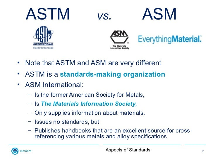 ASTM                      vs.                 ASM• Note that ASTM and ASM are very different• ASTM is a standards-making o...