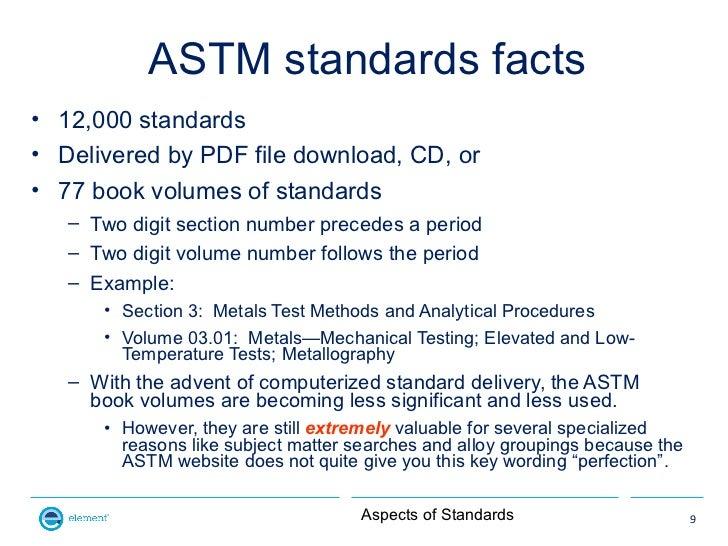 ASTM standards facts• 12,000 standards• Delivered by PDF file download, CD, or• 77 book volumes of standards   – Two digit...