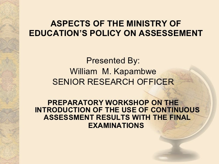 Aspects of the Zambian Ministry of Education's policy on assessment