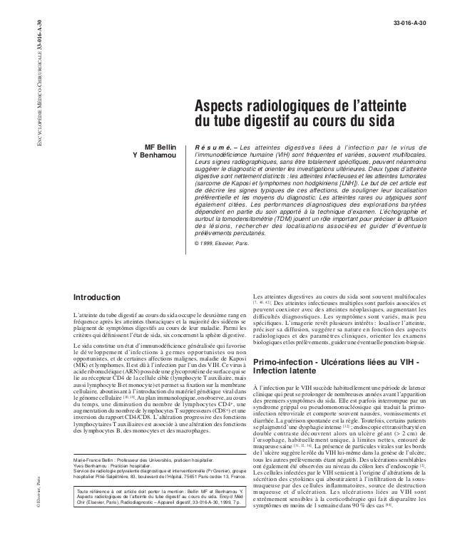 33-016-A-30  Aspects radiologiques de l'atteinte  du tube digestif au cours du sida  MF Bellin  Y Benhamou  R é s u m é. –...
