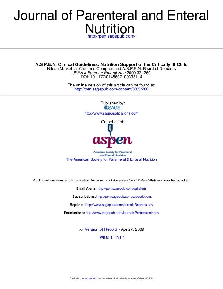 Journal of Parenteral and Enteral            Nutrition                         http://pen.sagepub.com/    A.S.P.E.N. Clini...