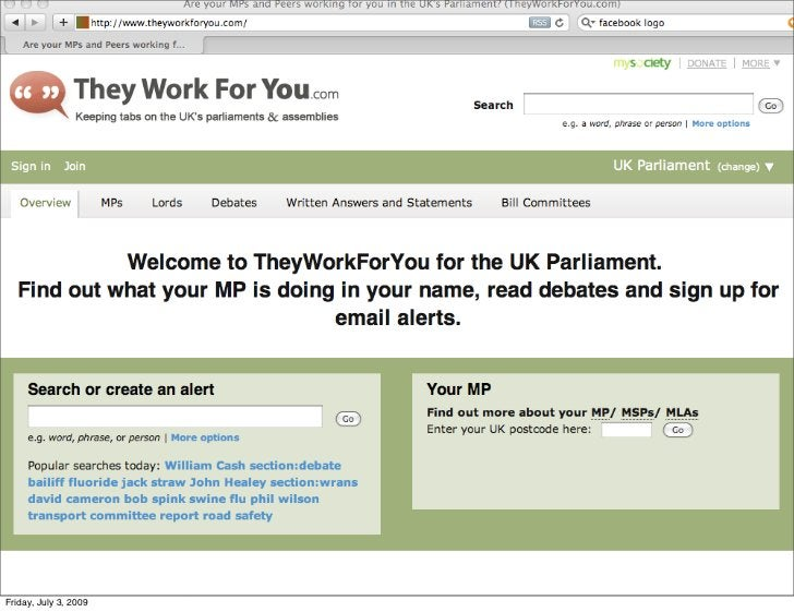 theyworkforyou.com     Friday, July 3, 2009