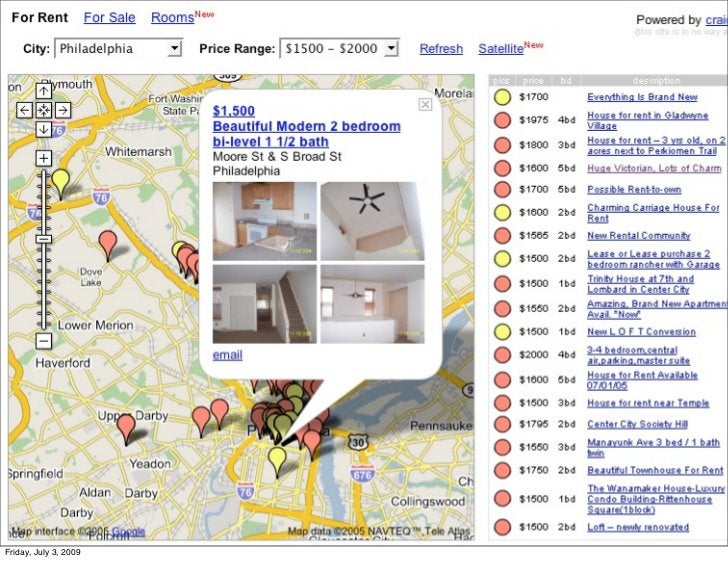 """housingmaps.com - the very first                        Google maps mashup                        •It was a """"hack."""" Google..."""