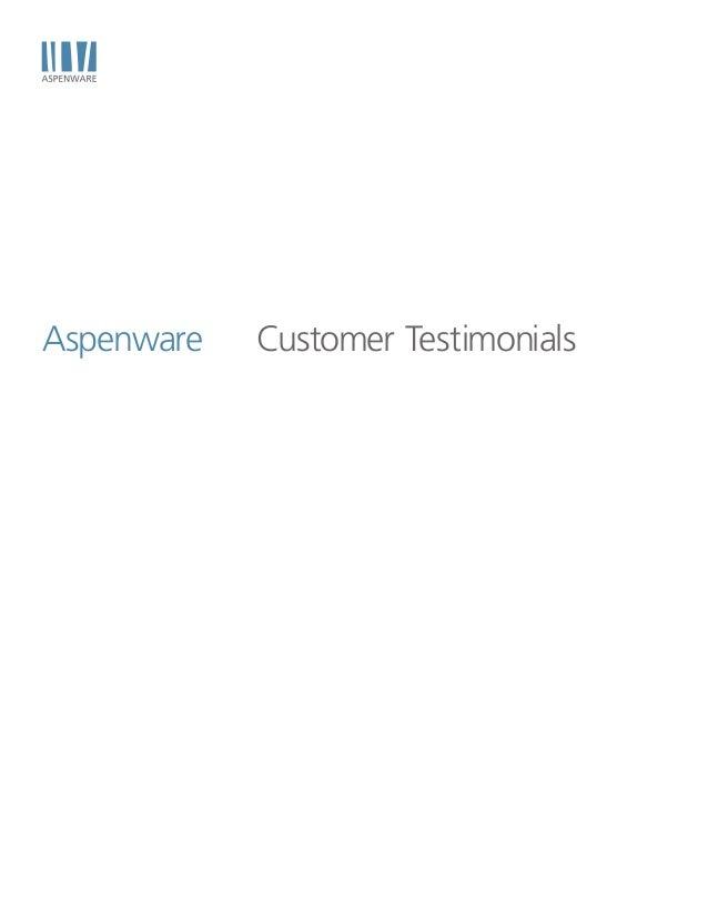 Aspenware   Customer Testimonials