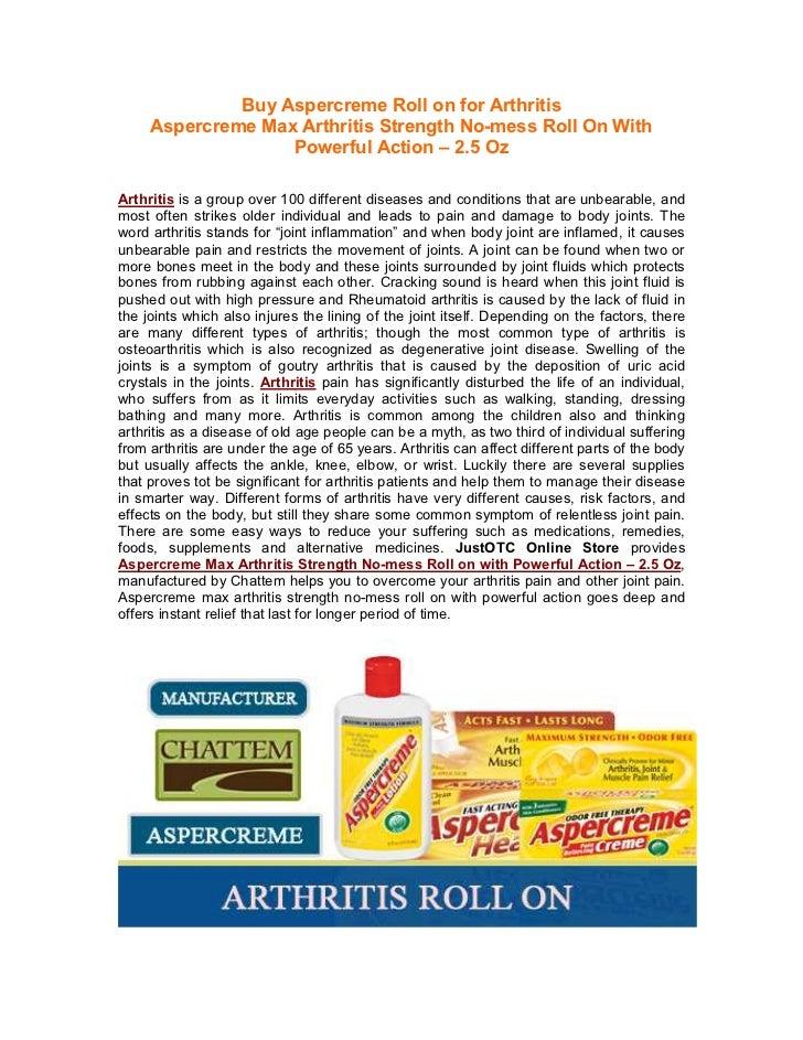Buy Aspercreme Roll on for Arthritis     Aspercreme Max Arthritis Strength No-mess Roll On With                   Powerful...