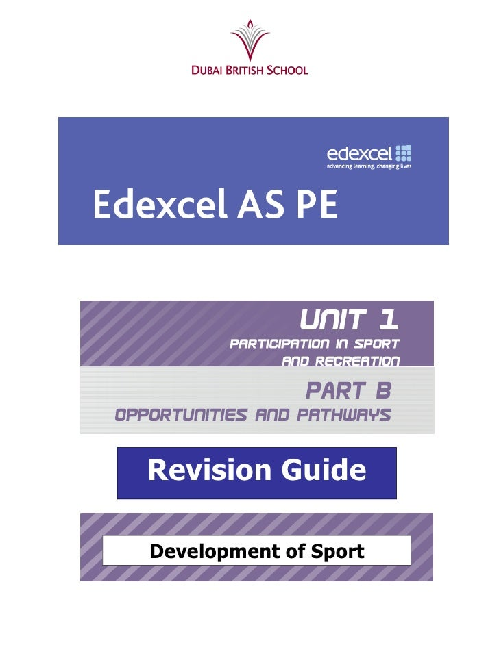 Revision GuideDevelopment of Sport