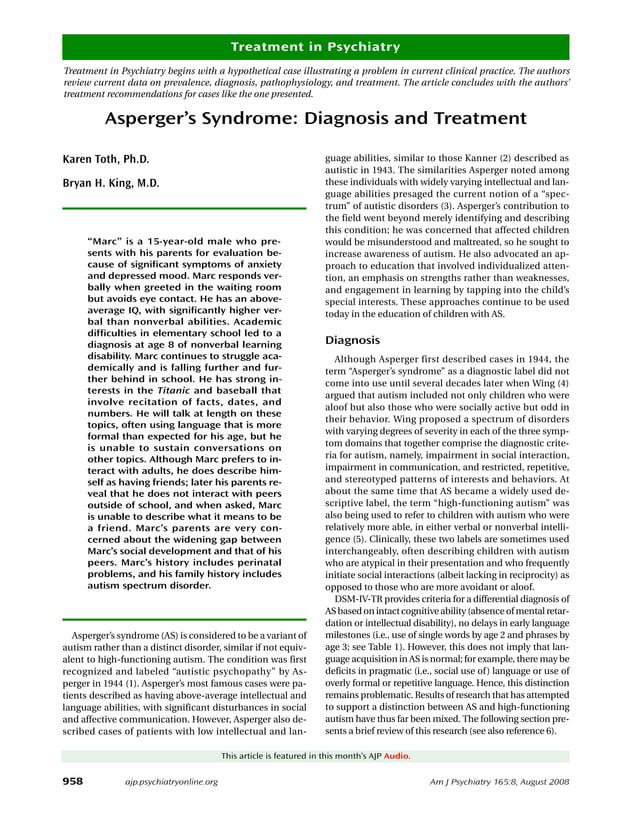 958 Am J Psychiatry 165:8, August 2008 Treatment in Psychiatry ajp.psychiatryonline.org Treatment in Psychiatry begins wit...