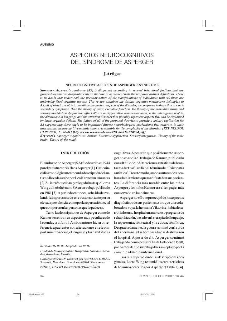 AUTISMO            J. ARTIGAS                                    ASPECTOS NEUROCOGNITIVOS                                 ...