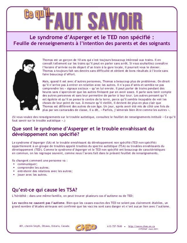 Le syndrome d'Asperger et le TED non spécifié : Feuille de renseignements à l'intention des parents et des soignants      ...