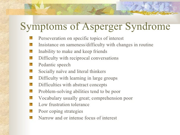 Aspergers symptoms adults males
