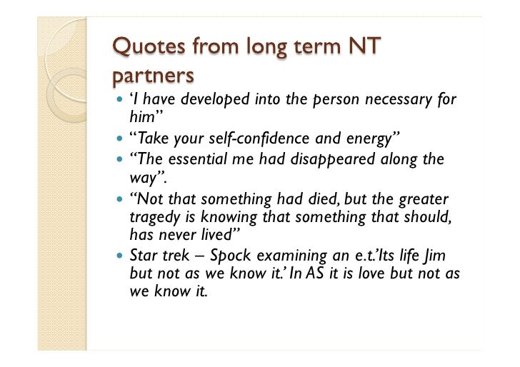 Intimacy and Romance in NT-AS relations