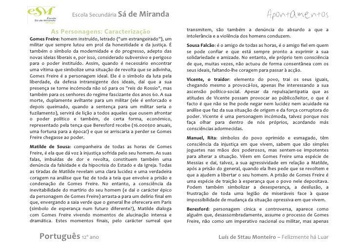 Escola Secundária Sá       de Miranda          As Personagens: Caracterização                               transmitem, sã...