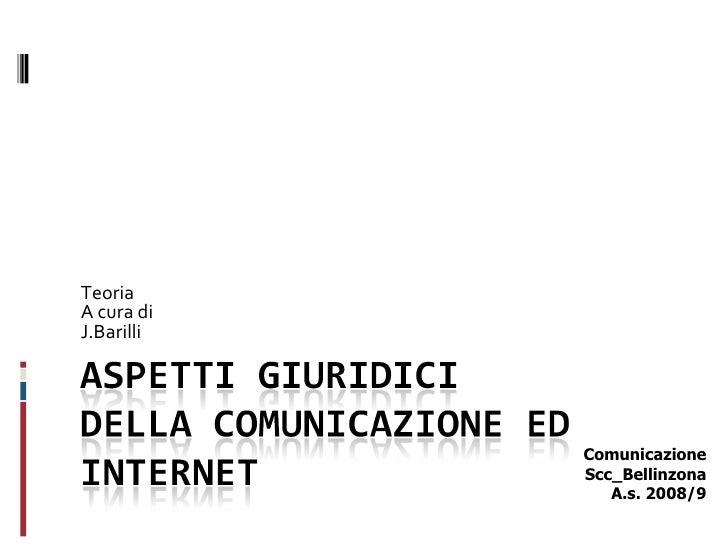 Teoria A cura di  J.Barilli Comunicazione Scc_Bellinzona A.s. 2008/9