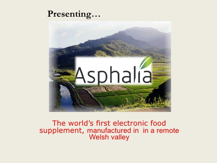 The world's first electronic food   supplement,  manufactured in  in a remote Welsh valley Presenting…