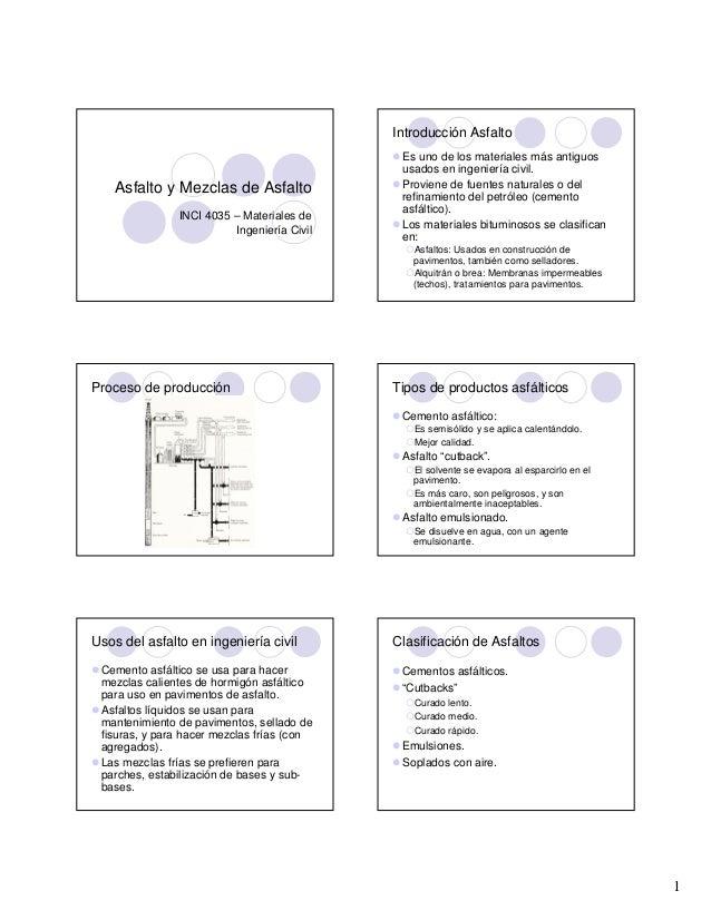 Introducción Asfalto  Asfalto y Mezclas de Asfalto INCI 4035 – Materiales de Ingeniería Civil  Es uno de los materiales má...