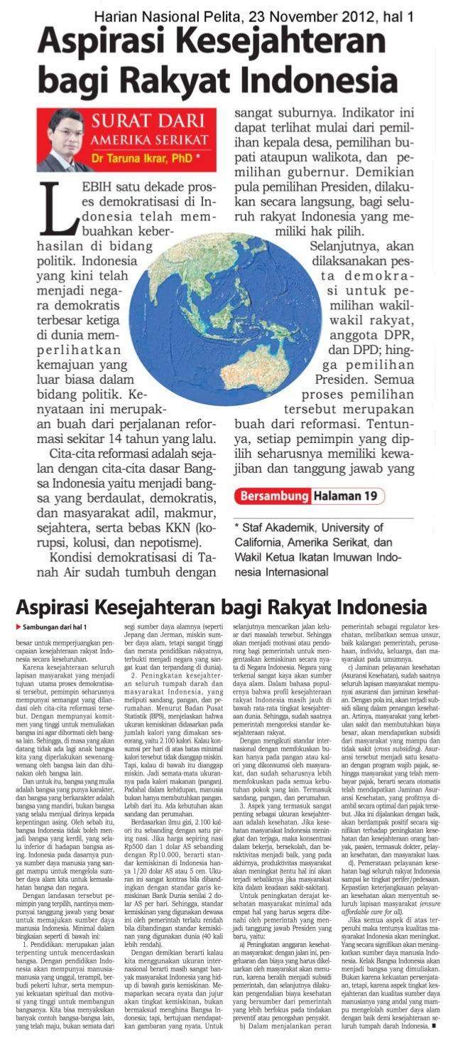 Aspirasi Kesejahteraan Bagi Rakyat Indonesia (Harian Nasional Pelita 23 November 2012 Halaman 1)