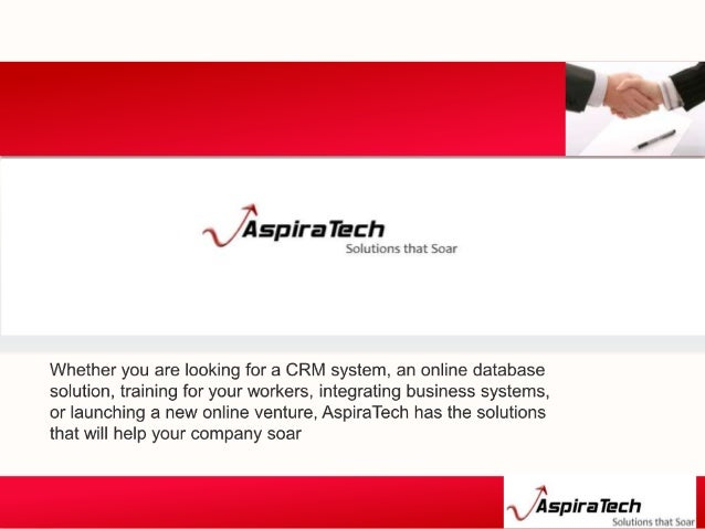 About Aspira Tech Services CRM CONSULTING Tech services for non profit SALESFORCE TRAINING System Integration SALESFORCE I...