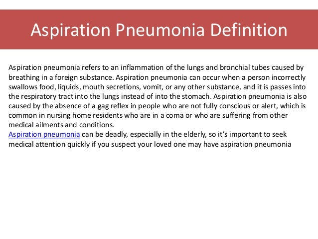 Aspiration Pneumonitis and Aspiration Pneumonia — NEJM