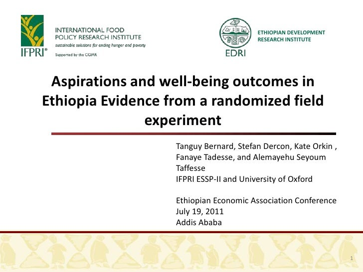 ETHIOPIAN DEVELOPMENT                                        RESEARCH INSTITUTE Aspirations and well-being outcomes inEthi...