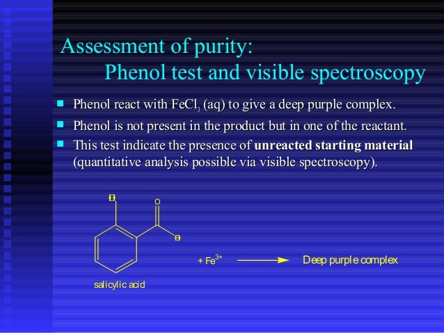 purity of aspirin by spectrophotometry essay Aim 3: test the purity of the purified aspirin testing the purity of my sample of aspirin is an indicator of how well the recrystalisation method if purification worked to test my sample of aspirin, i made up standard solutions and titrated my aspirin against pure aspirin and aspirin tablets from the supermarket.